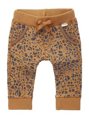 baby regular fit broek Terracina met biologisch katoen bruin/donkerblauw