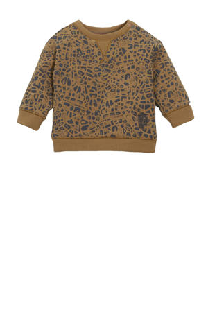 baby sweater Trowbridge met all over print bruin/antraciet