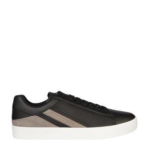 leren sneakers zwart/beige