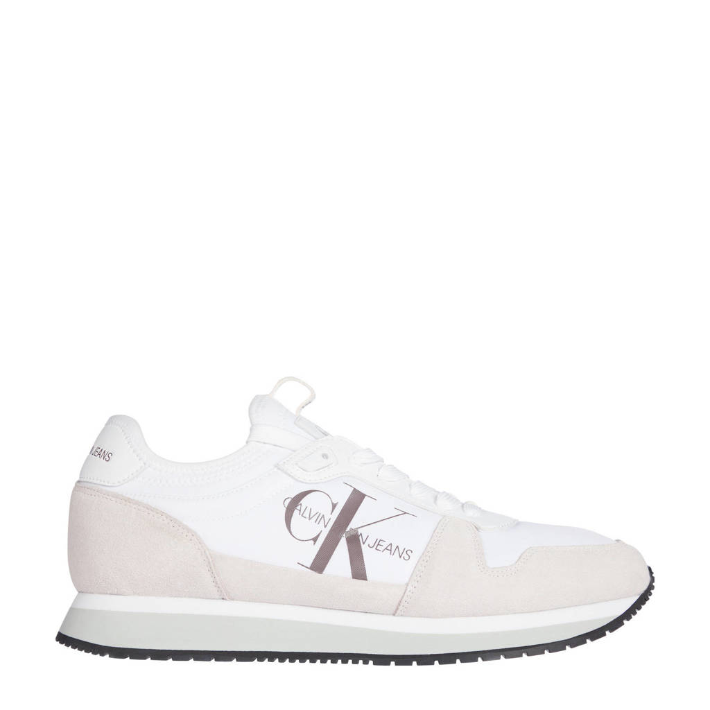 CALVIN KLEIN   suède sneakers wit, Wit
