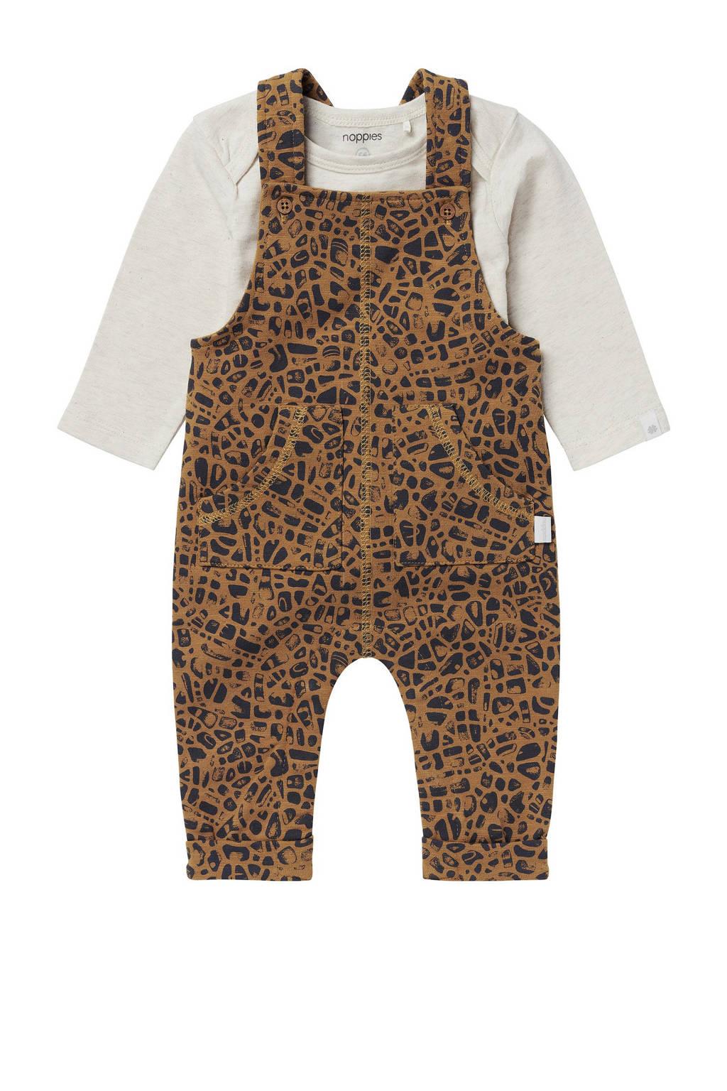 Noppies newborn baby tuinbroek + romper ecru/bruin/zwart, Bruin/ecru/zwart