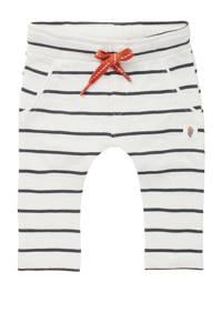 Noppies baby gestreepte slim fit broek Tallinn van biologisch katoen wit/zwart, Wit/zwart