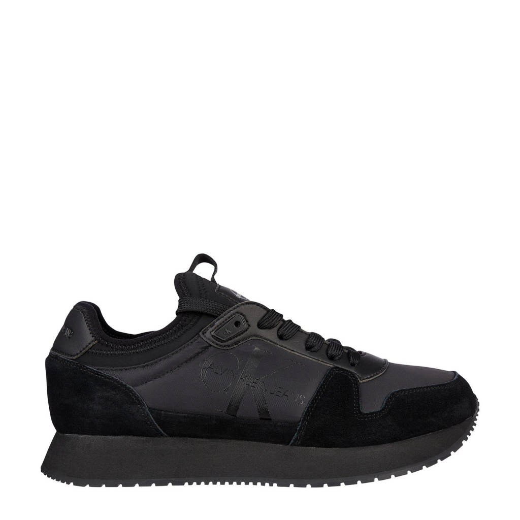 CALVIN KLEIN   suède sneakers zwart, Zwart
