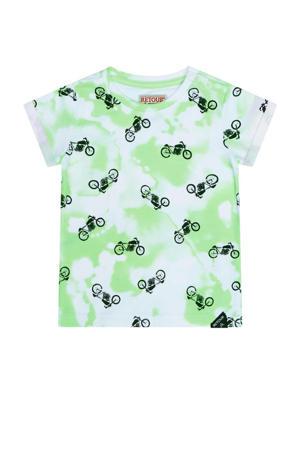 T-shirt Dio met all over print helder mintgroen/wit/zwart