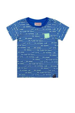 baby T-shirt Fedde met all over print blauw/fris groen