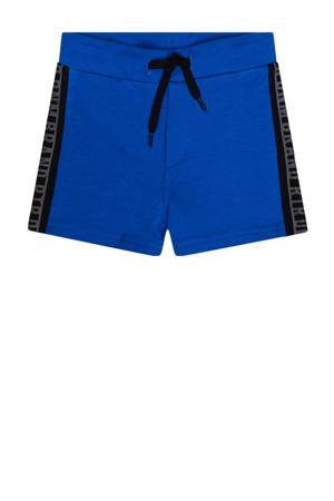 regular fit sweatshort Igor met zijstreep kobaltblauw/zwart