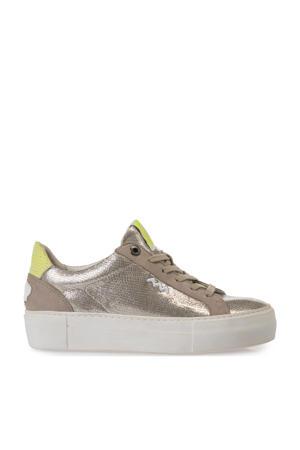 Vinni  leren sneakers taupe/metallic