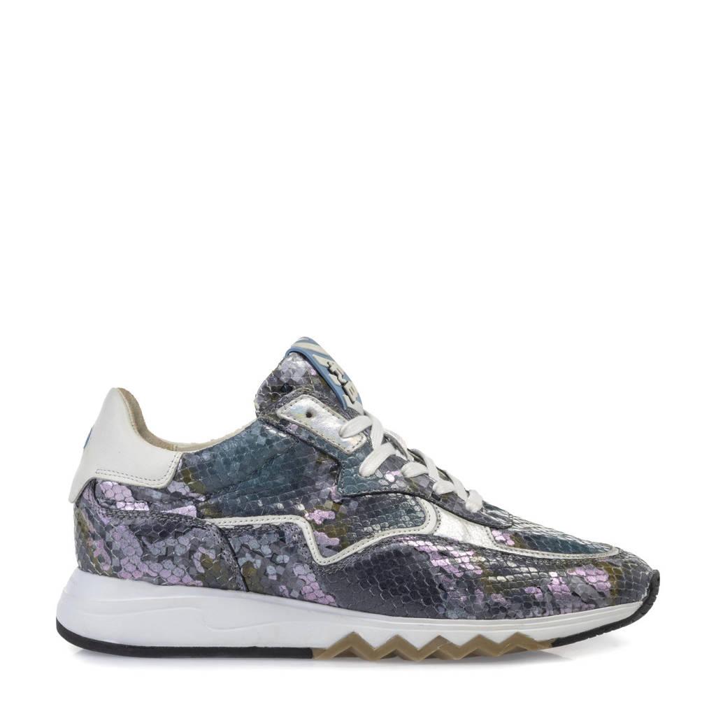 Floris van Bommel Nineti  leren sneakers met slangenprint blauw, Blauw/paars