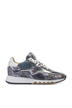 Nineti  leren sneakers met slangenprint blauw