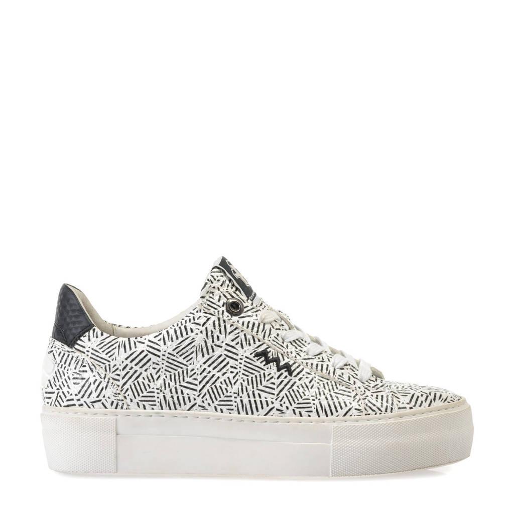 Floris van Bommel Vinni  leren sneakers wit/zwart, Wit/zwart