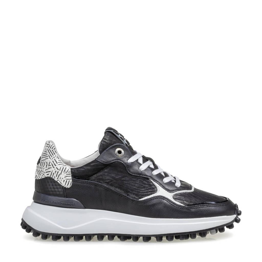 Floris van Bommel NOPPI  leren sneakers zwart, Zwart/wit