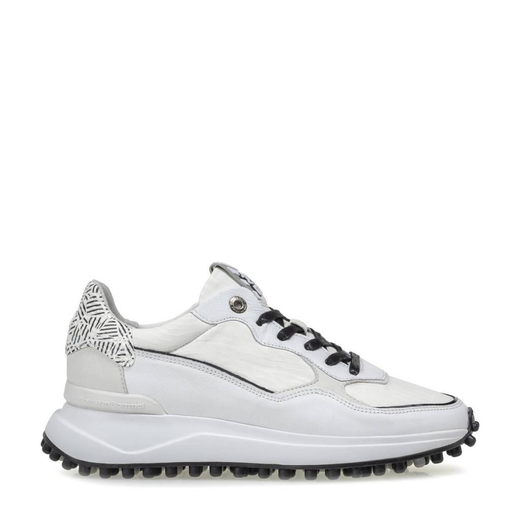 Floris van Bommel NOPPI  leren sneakers wit, Wit/zwart
