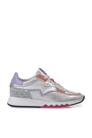 Nineti  leren sneakers zilver/multi