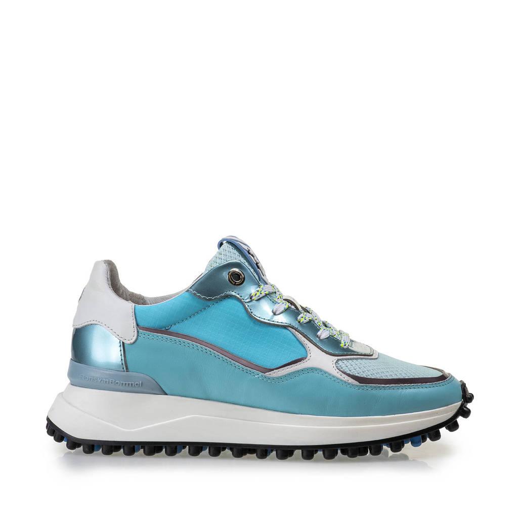 Floris van Bommel Noppi  leren sneakers blauw, blauw/metallic