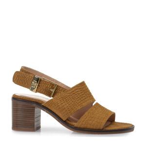 Emmi  suède sandalettes met crocoprint cognac