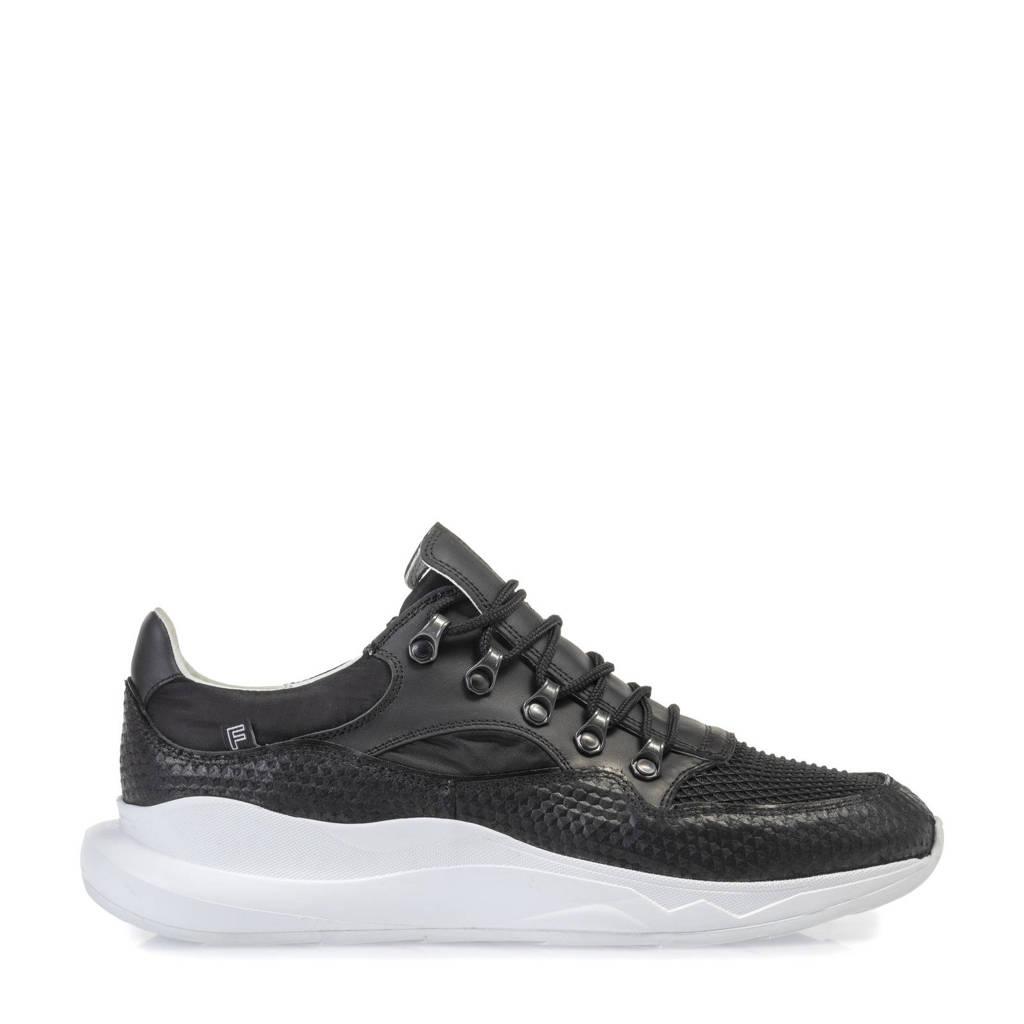 Floris van Bommel Bulki  leren sneakers zwart, Zwart
