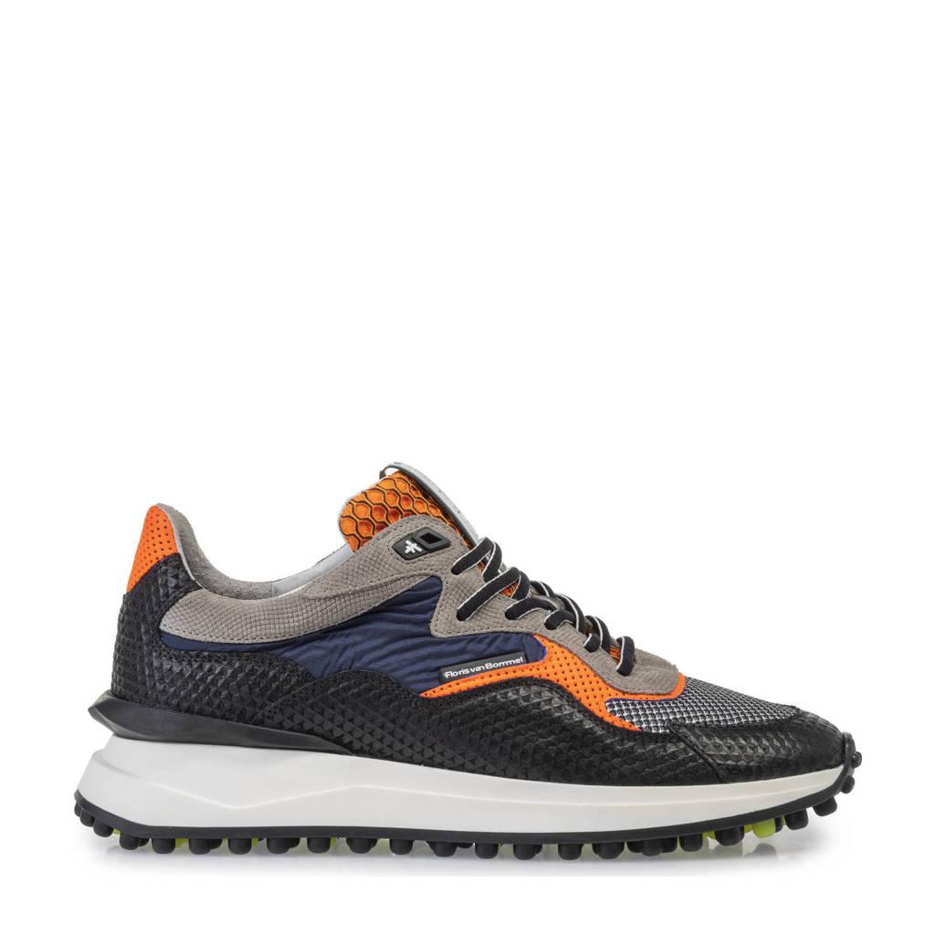 Floris van Bommel Noppi  sneakers zwart/oranje, Zwart/oranje/blauw