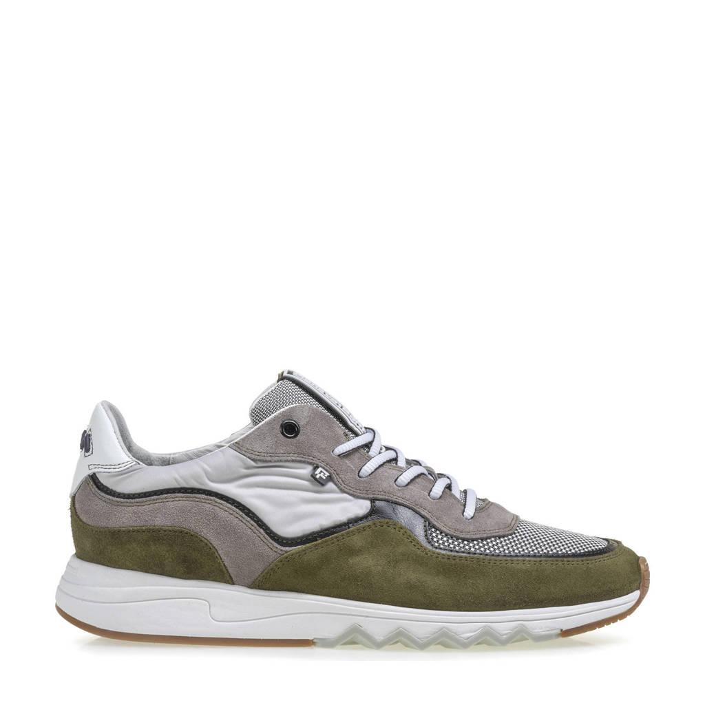 Floris van Bommel Nineti  suède sneakers groen, Groen/multi
