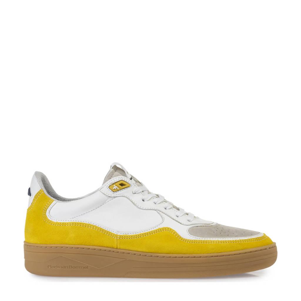 Floris van Bommel Wembli  leren sneakers wit/geel, Wit/geel