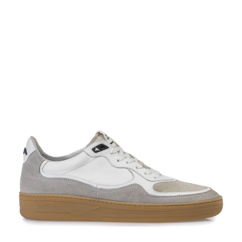 Floris van Bommel Wembli  leren sneakers wit/grijs, Wit/grijs