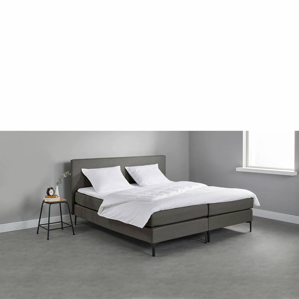 Beter Bed complete boxspring Oxford (140x200 cm), Donkergrijs