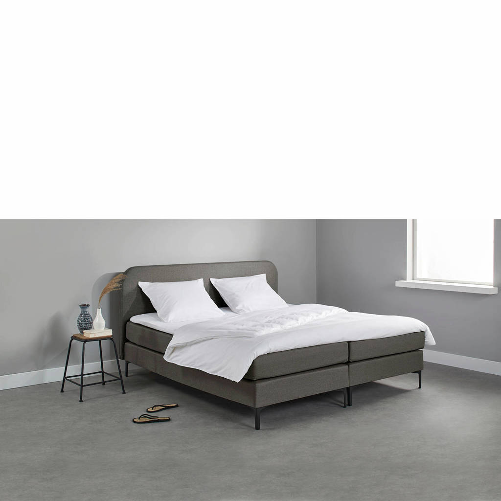 Beter Bed complete boxspring Manchester (160x200 cm), Donkergrijs