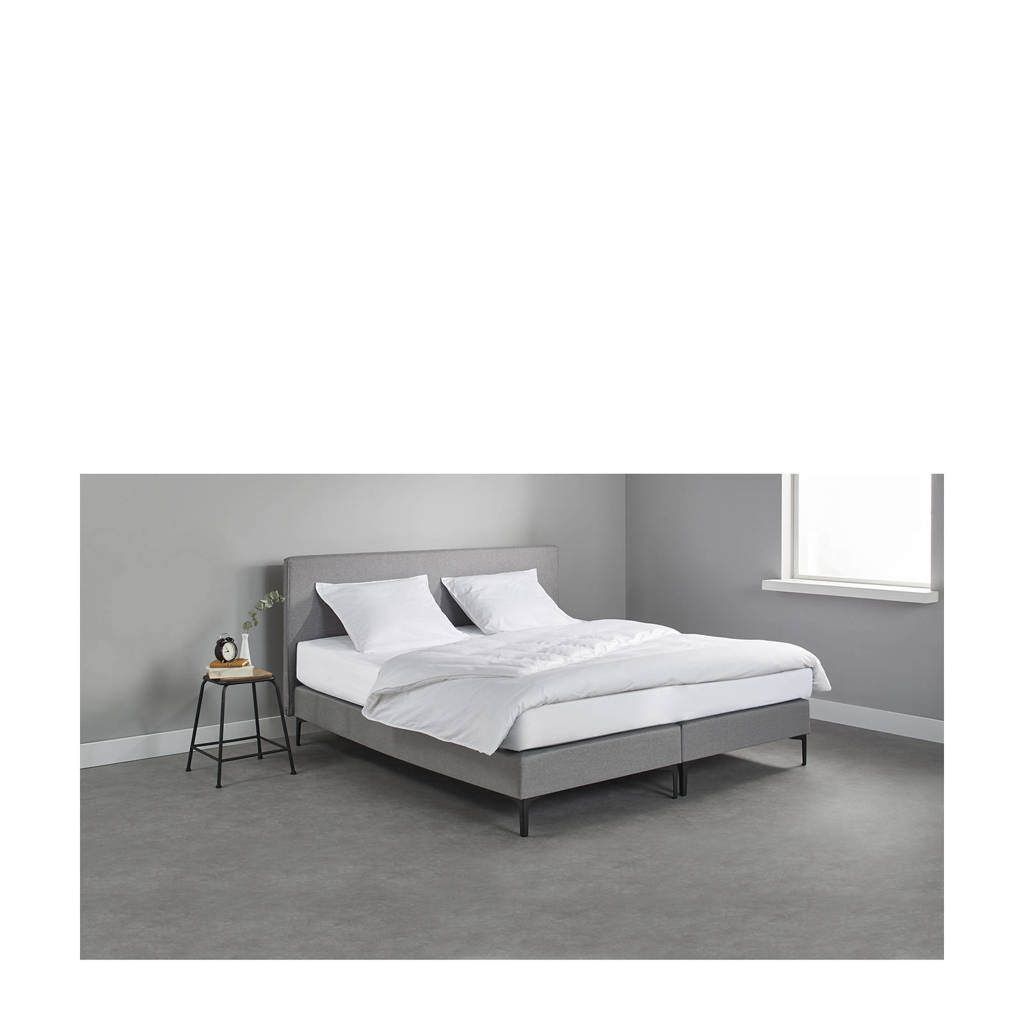 Beter Bed complete boxspring London (140x200 cm), Lichtgrijs