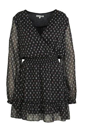 jurk Nyla met stippen en volant zwart