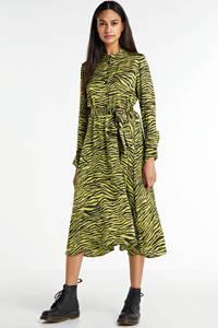 Aaiko blousejurk Soraya met dierenprint en ceintuur groen/zwart, Groen/zwart