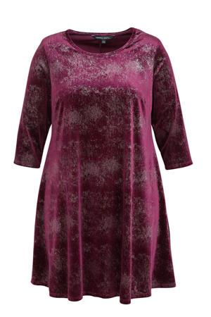 fluwelen A-lijn jurk met glitters donkerpaars/zilver