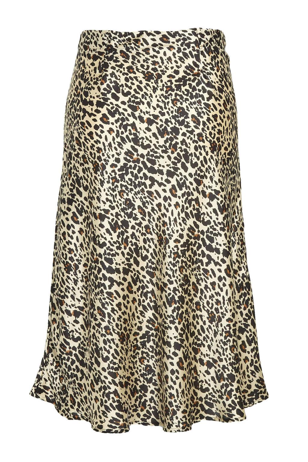 Simply Be rok met panterprint beige/zwart, Beige/zwart