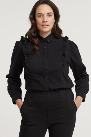 blouse met volant zwart washed