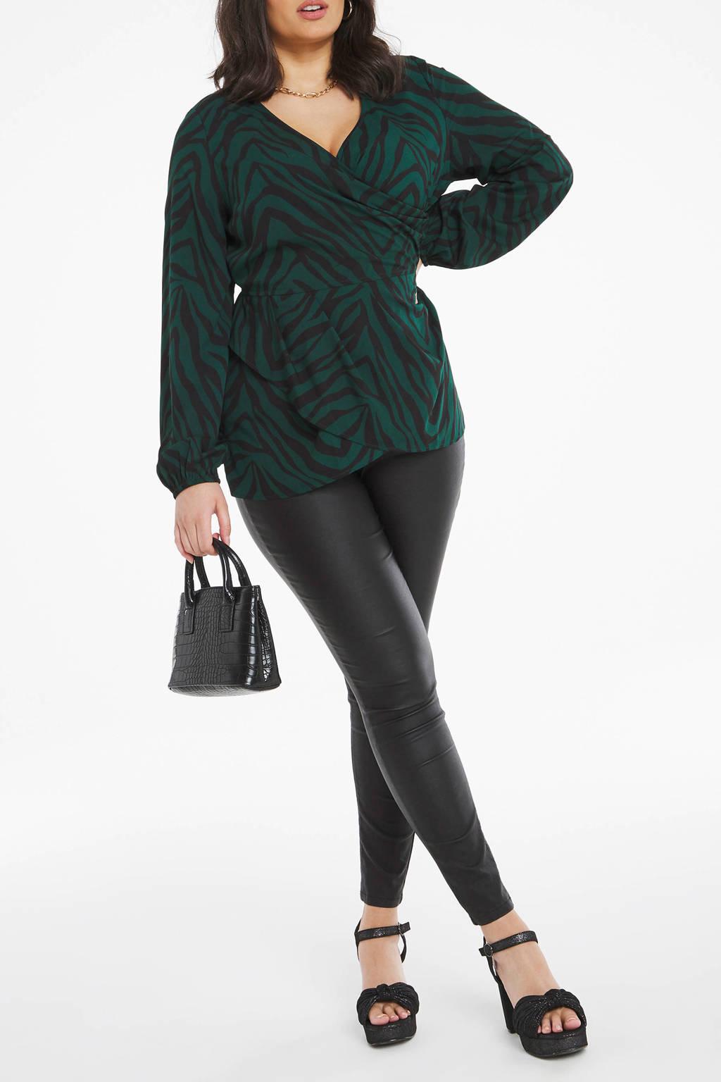 Simply Be top met zebraprint groen/zwart, Groen/zwart