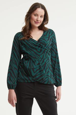 top met zebraprint groen/zwart