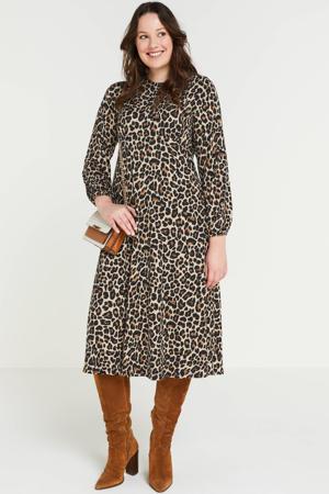 jurk met panterprint beige/zwart