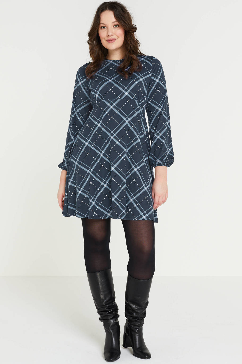 Simply Be A-lijn jurk met all over print en plooien donkerblauw/lichtblauw/wit, Donkerblauw/lichtblauw/wit