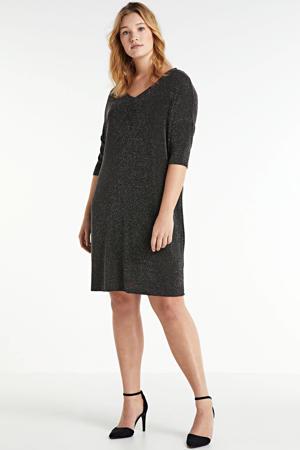 semi-transparante jurk met glitters zwart/zilver