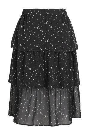 semi-transparante rok met sterren en volant zwart/wit