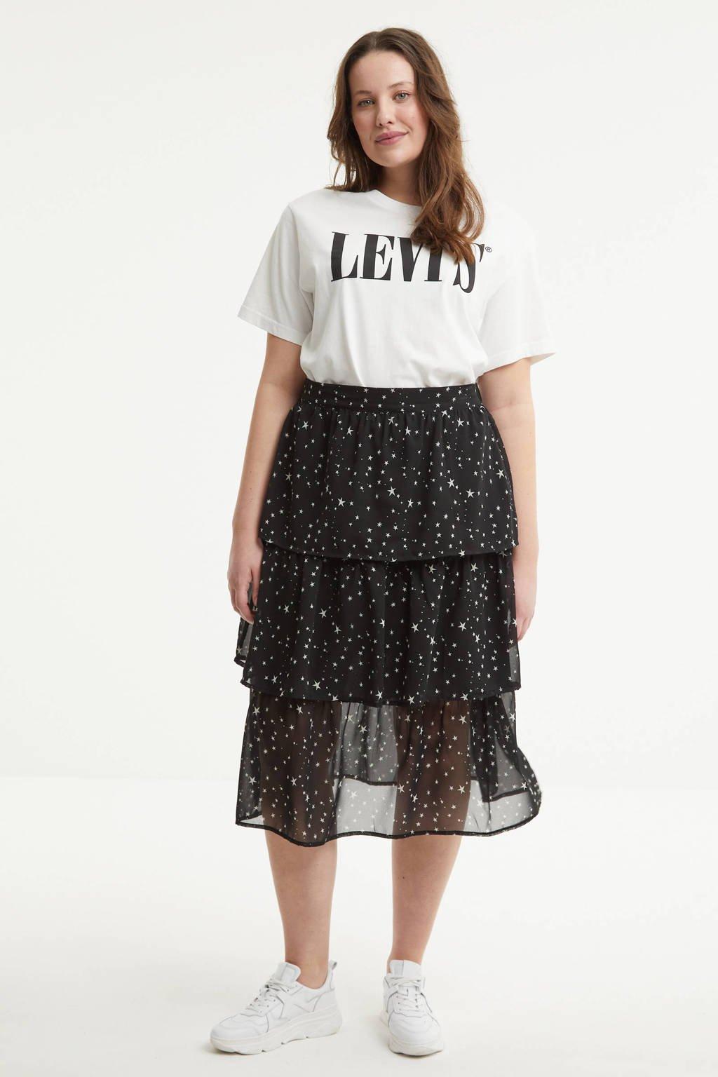 Simply Be semi-transparante rok met sterren en volant zwart/wit, Zwart/wit