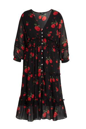 gebloemde semi-transparante jurk zwart/rood