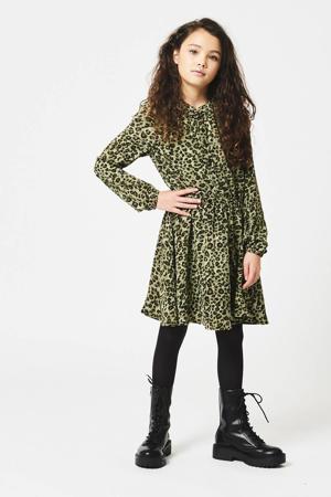 jurk Dilara met panterprint en plooien donkergroen/zwart
