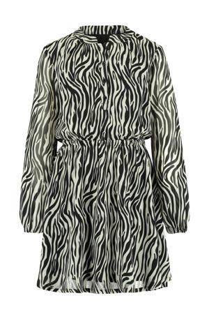 jurk Dilara met zebraprint en plooien wit/zwart