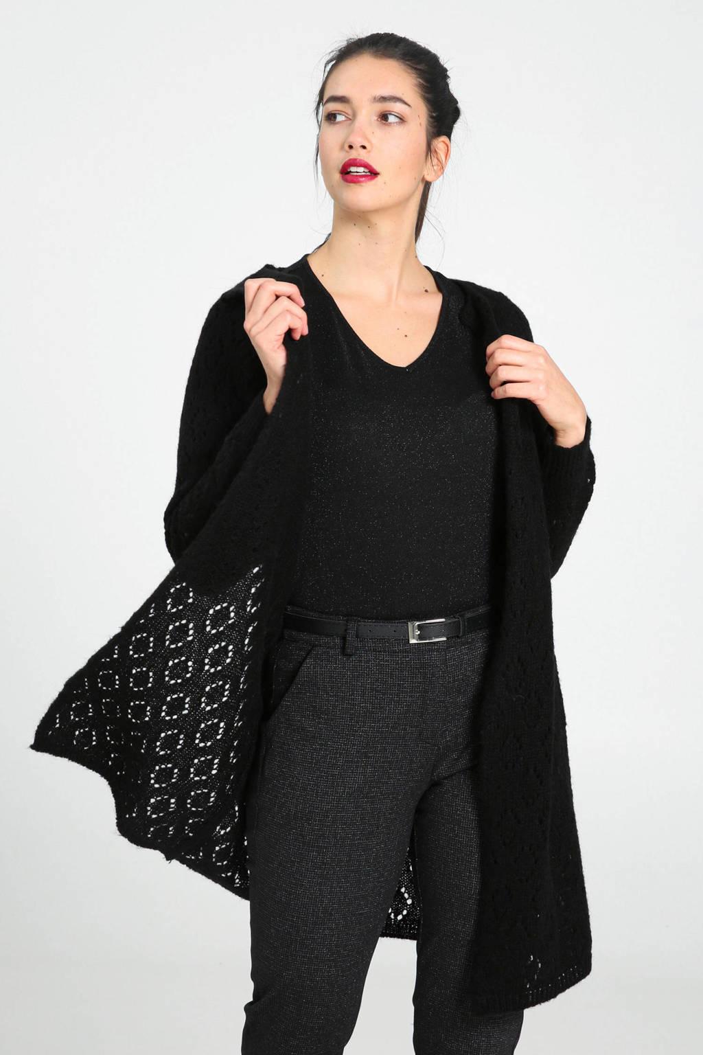 Cassis vest met wol zwart, Zwart