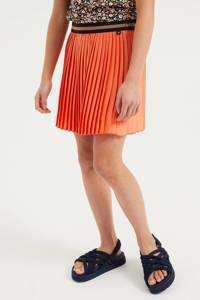 WE Fashion plissé rok met glitters oranje, Oranje