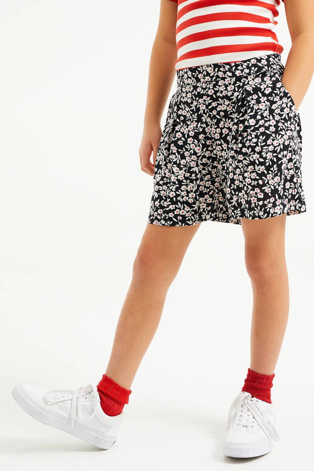 WE Fashion gebloemde loose fit short zwart/wit, Black Uni