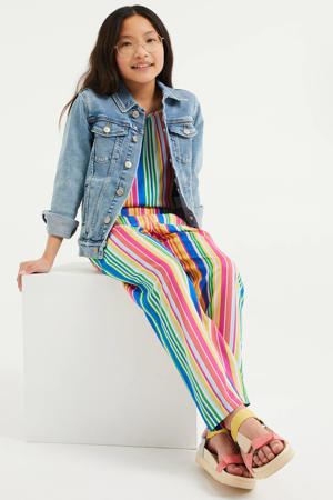 gestreepte jumpsuit roze/groen/geel/blauw