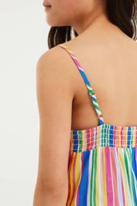 WE Fashion gestreepte jumpsuit roze/groen/geel/blauw, Roze/groen/geel/blauw