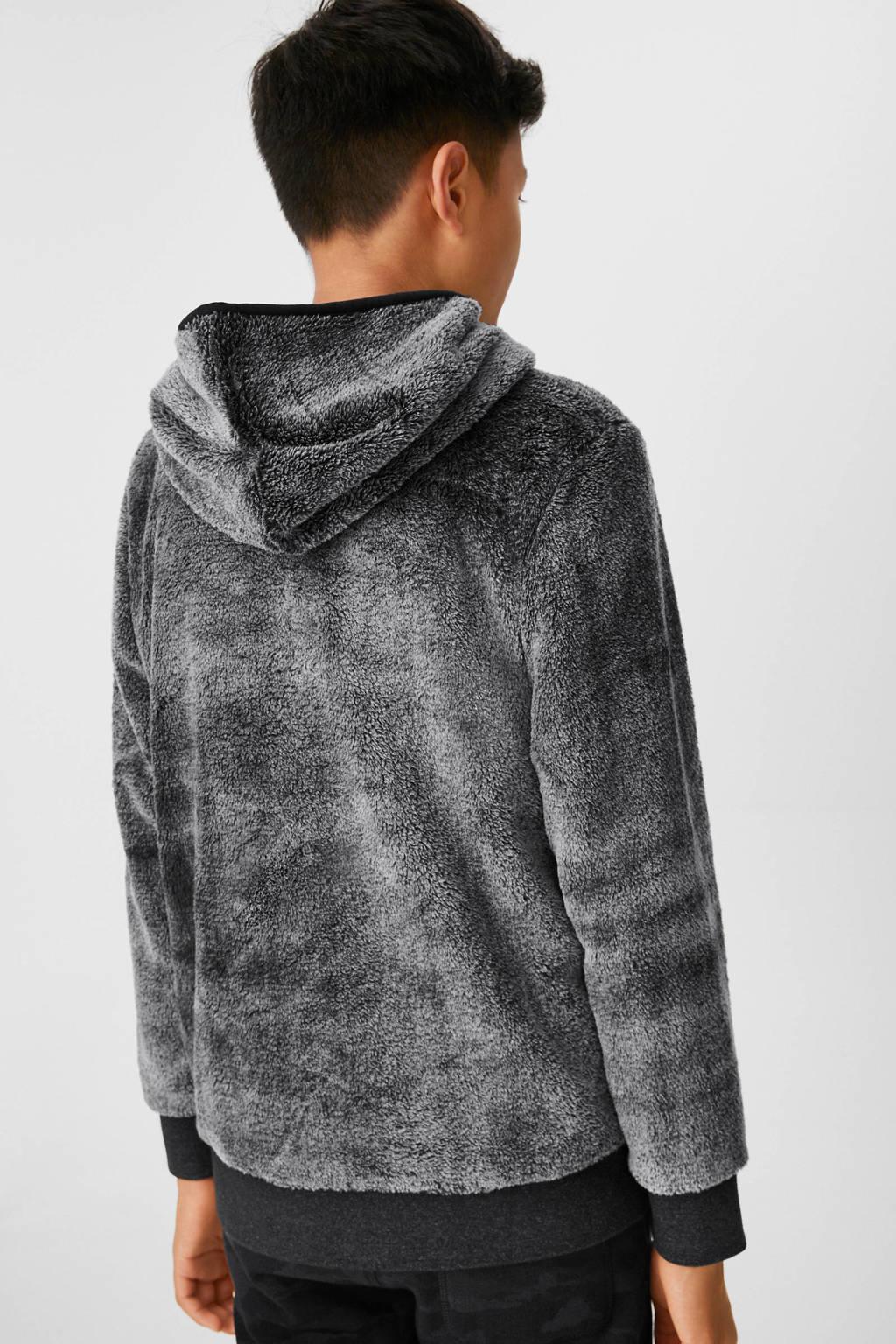 C&A Here & There hoodie met tekst antraciet, Antraciet