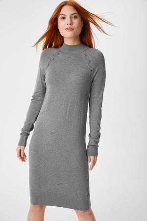 gemêleerde fijngebreide jurk grijs