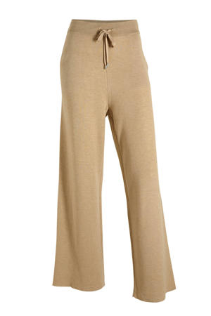 gemêleerde high waist joggingbroek beige